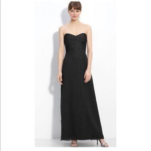 Amsale crinkle chiffon strapless gown